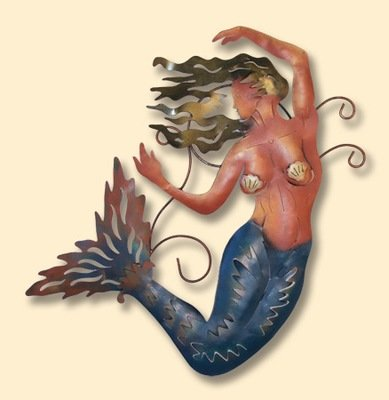 INCREDIBLE METAL WALL ART-MERMAID FLOATING