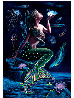 PRINT-BIOLUMINESCENT MERMAID