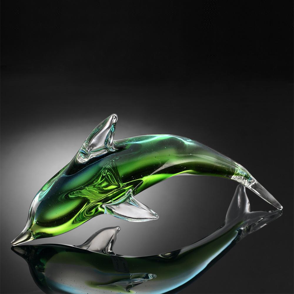 ART GLASS-GREEN DOLPHIN SP20000