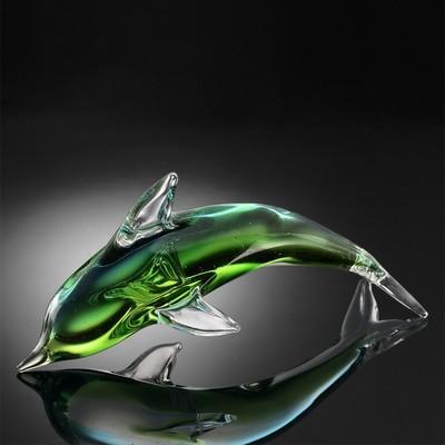 ART GLASS-GREEN DOLPHIN