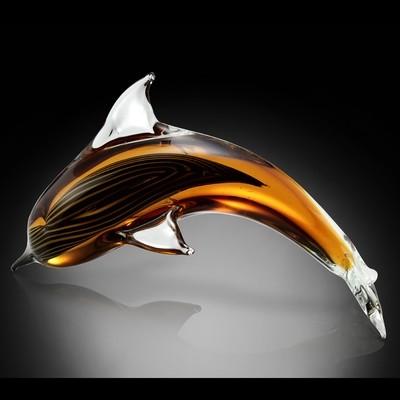 ART GLASS-AMBER DOLPHIN