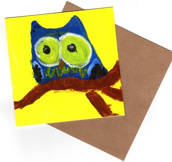 Owl Blue Blank Note Card