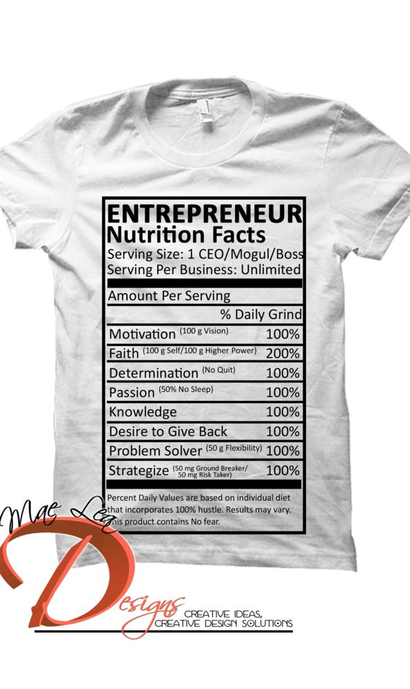 Entrepreneur Nutrition Facts Men's/Unisex Tee - White