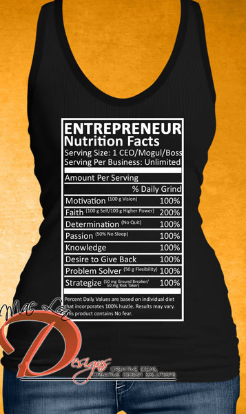 Entrepreneur Nutrition Facts Tank - Black