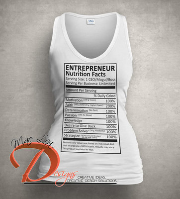 Entrepreneur Nutrition Facts Tank - White