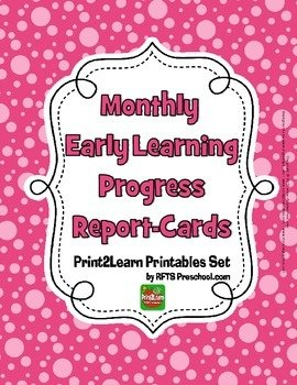 12 Monthly {Early Learning} Progress Report Cards