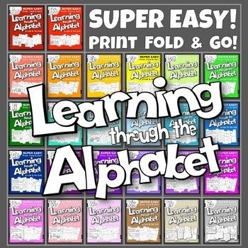 A to Z ACTIVITY BOOK BUNDLE (26 ACTIVITY TAB BOOKS) PRINT FOLD and GO