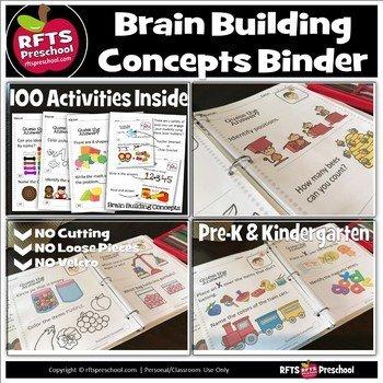 Brain Building Concepts Binder for Preschool and Kindergarten