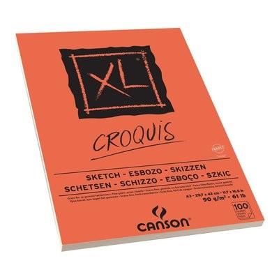 Альбом для графики CANSON XL, 90гр/м, Слоновая кость, A3, 100л, склейка