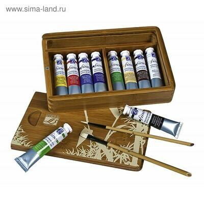 Маслянные краски Lefranc 10*20мл в натуральной бамбуковой коробке