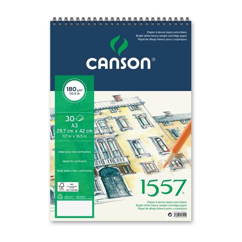 Альбом 1557 Canson на спирали, 180гр/м, малое зерно, A3, 30л