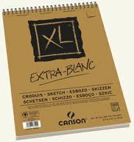 Альбом для графики XL, 90гр/м, Экстра белая, 21х29.7см, 120л, спираль по короткой стороне