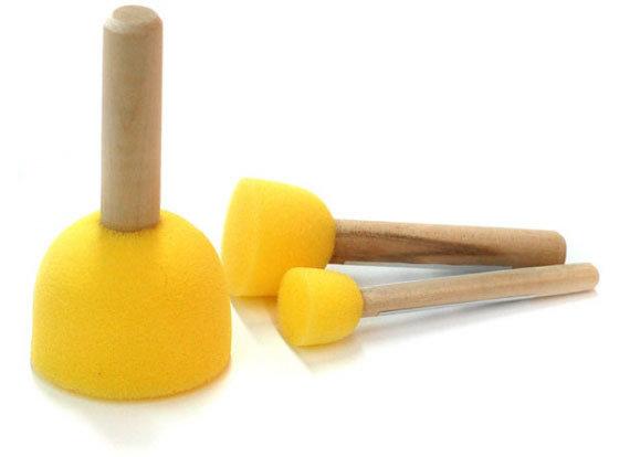 Спонжи с деревянной ручкой 1шт. 90406