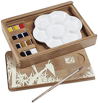 Подарочный набор акварели в бамбуковой коробке, 12 цветов, керамическая палитра