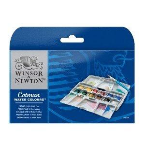 Набор акварельных красок Winsor&Newton 12 полукювет+кисть в пластиковом пенале
