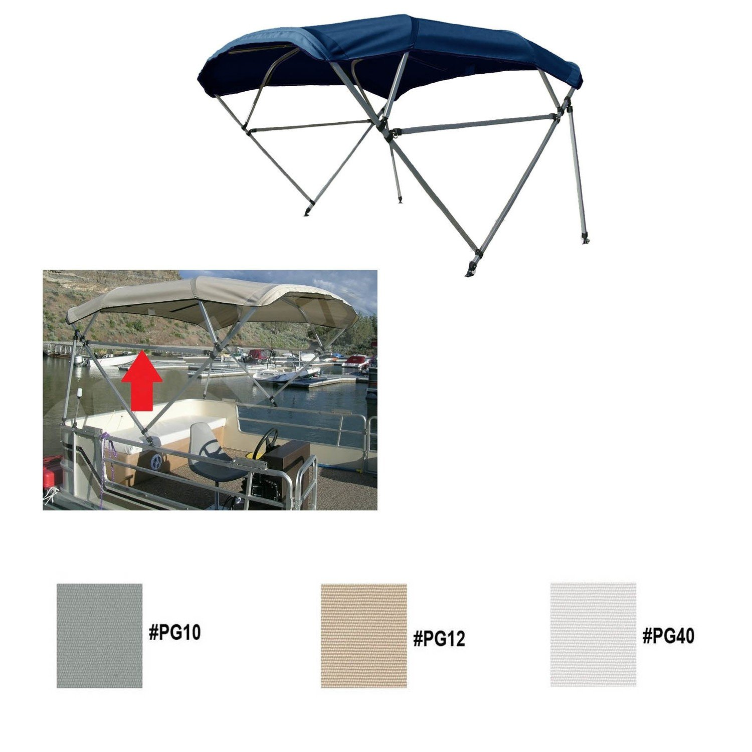 8oz Polyester Free Standing Square Tube Pontoon Boat Bimini Top w/light cut  out 96-102