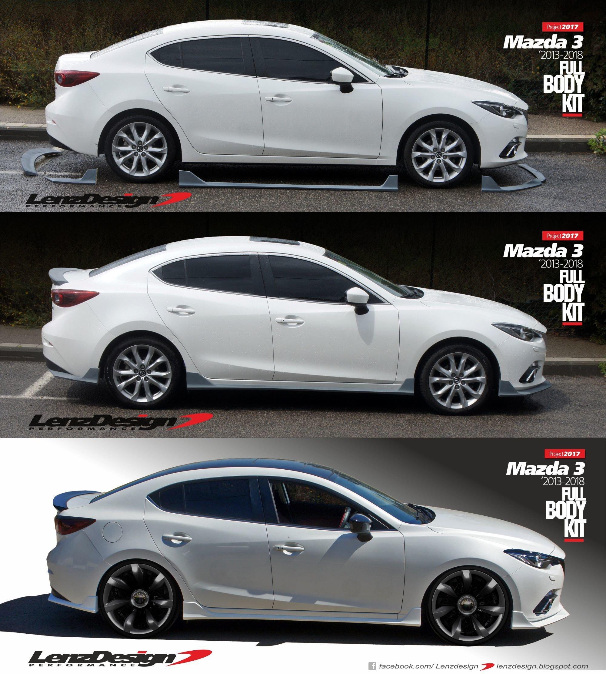 Mazda 3 BM BN 2013 2018 5 pcs Body Kit Front Spoiler Side