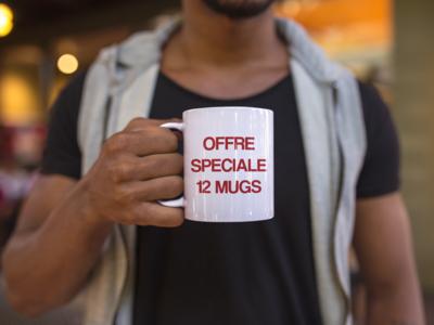 12 mugs personnalisés (5,79€ l'unité)