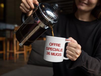 36 mugs personnalisés (3,89 € l'unité)
