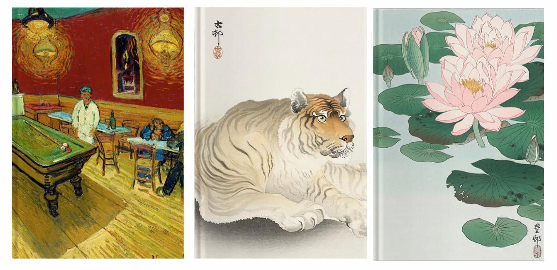 Libretas Café de noche de Van Gogh, Tigre y Flores japonesas por 299 pesos con envío incluido