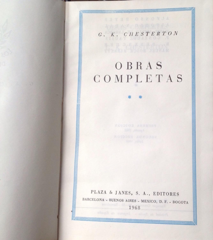 G. K. Chesterton, Obras completas dos Narratva