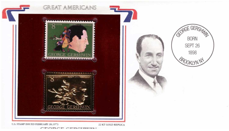 George Gershwin, Timbre y réplica con chapa de oro de 22k
