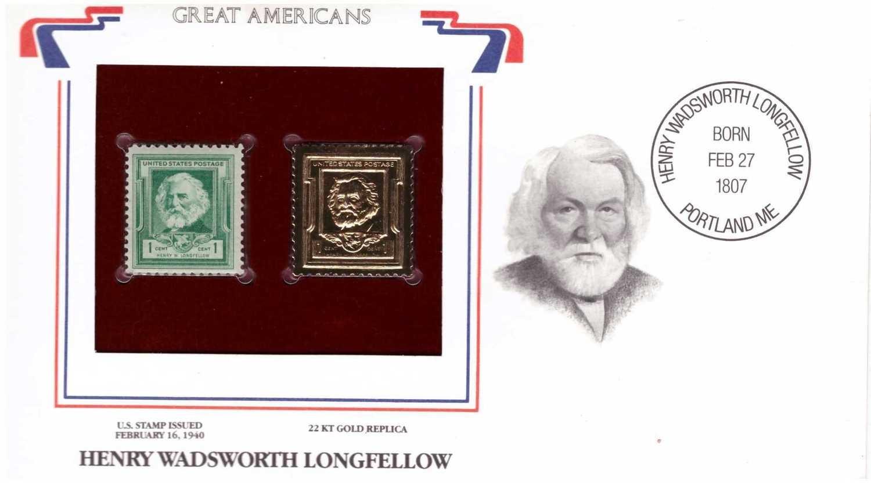 Henry Wadsworth Longfellow, Timbre y réplica con chapa de oro de 22k