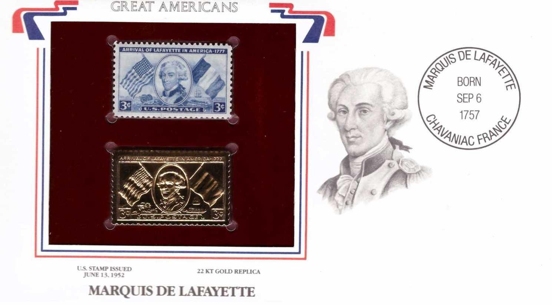 Marquis de Lafayette, Timbre y réplica con chapa de oro de 22k