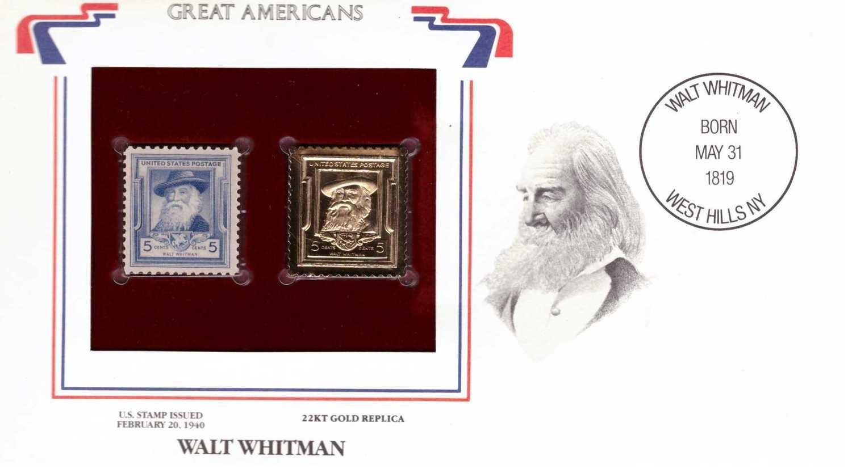 Walt Whitman, Timbre y réplica con chapa de oro de 22k