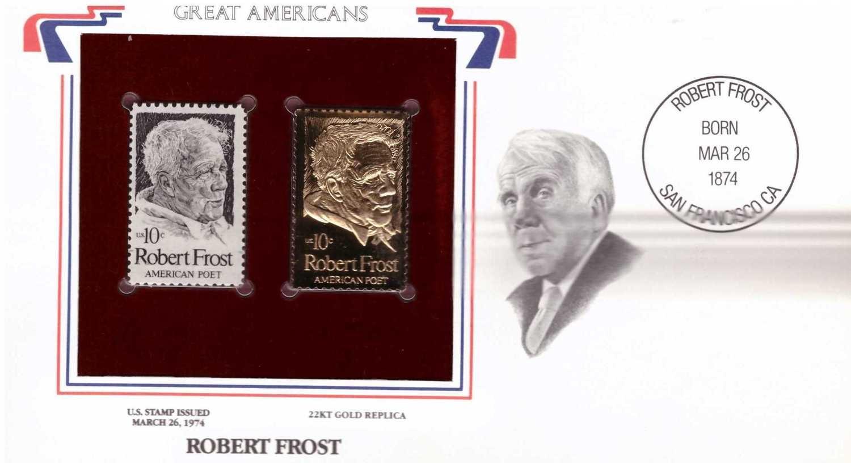 Robert Frost, Timbre y réplica con chapa de oro de 22k