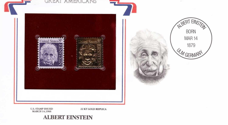 Albert Einstein, Timbre y réplica con chapa de oro de 22k