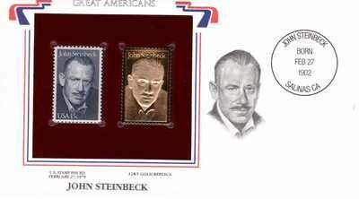 John Steinbeck, Timbre y réplica con chapa de oro de 22k