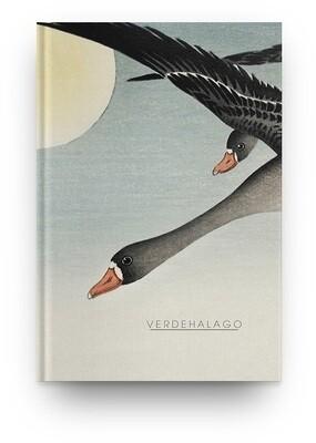 Libreta Aves con luna llena de Ohara Koson