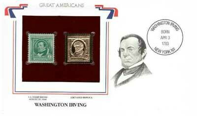 Washington Irving. Timbre y réplica de 22k