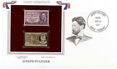 Joseph Pulitzer. Timbre y réplica de 22k