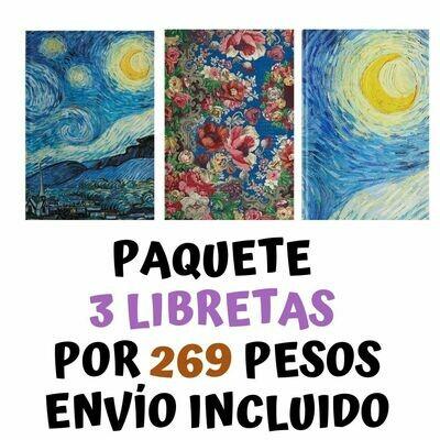 3 libretas (Noche estrellada, Luna (noche estrellada), y Flores) por 269 pesos envío incluido