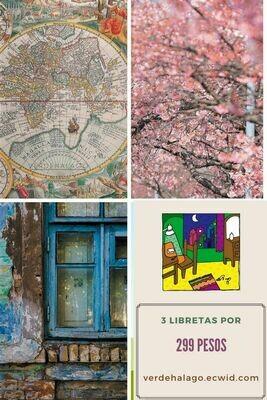 3 libretas (Mapamundi, Sakura y Ventana) por 299 pesos envío incluido