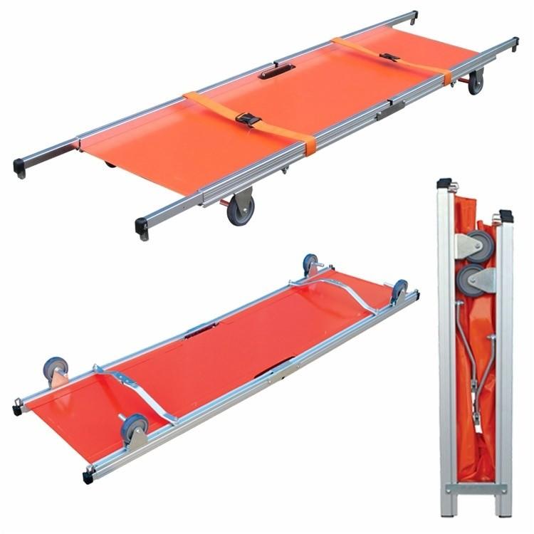 Δίσπαστο φορείο κατά μήκος με τροχούς - Two folding stretcher lengthwise with wheels