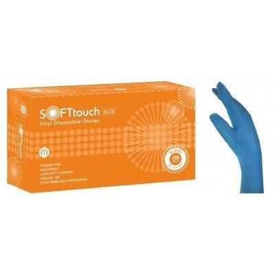 Γάντια βινυλίου μπλέ χωρίς πούδρα Soft Touch (3,5gr) 1000 τεμάχια
