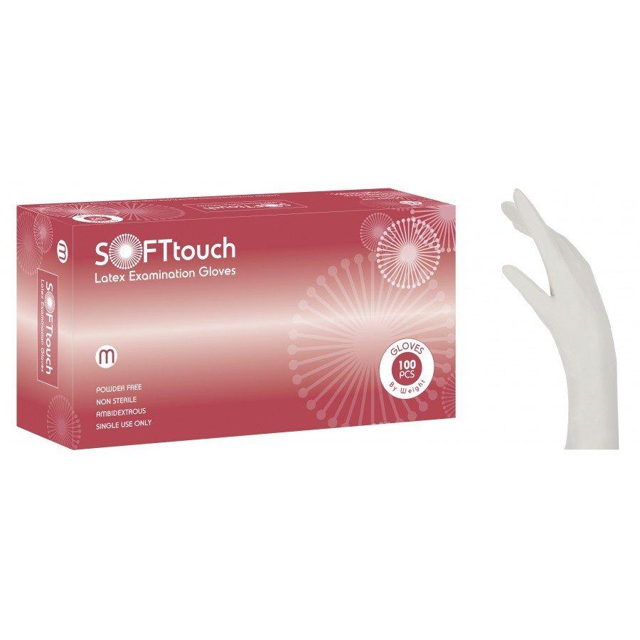 Γάντια λάτεξ λευκά χωρίς πούδρα Soft Touch (5,5 gr) 1000 τεμάχια
