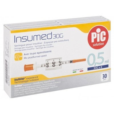 Σύριγγες Pic Ιταλίας 0,5cc insuline G-29 x 12,7mm - G30 x 8mm (30 τεμάχια)