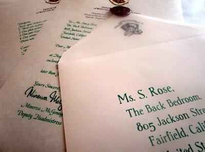 wizarding acceptance letter british school