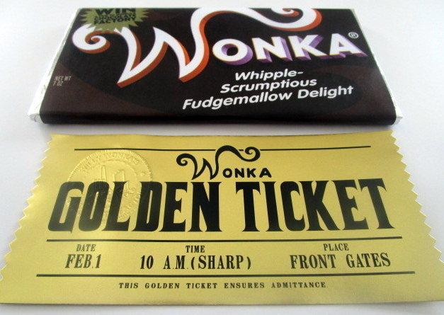 Willy Wonka Modern Golden Ticket Bar Set