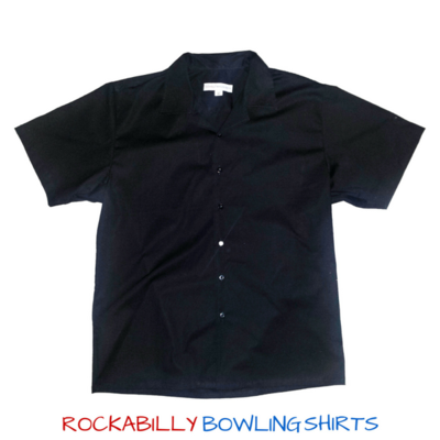 Classic Black Retro Bowling Shirt. For Rockabillies and Bowlers