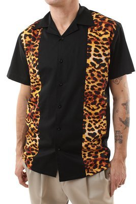 Shirt with Leopard Panels (Black)