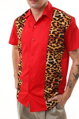Shirt with Leopard Panels (Red)