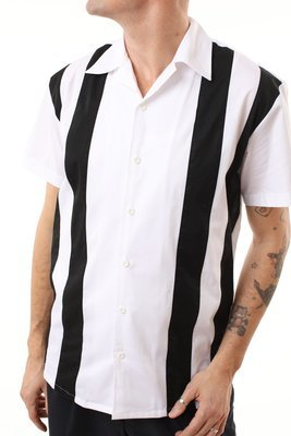 Great white 50s style Bowling Shirt with black lines THOMAS