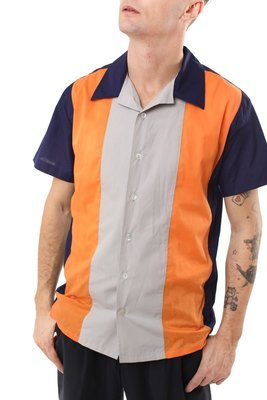 Rockabilly Bowling Shirt GARY -Dark Blue