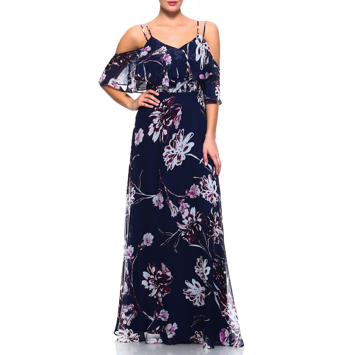 Purple and grey maxi dress