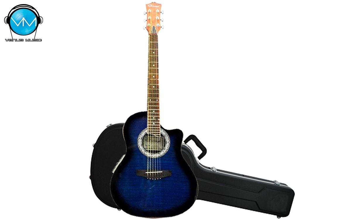 Guitarra Electroacústica Caraya con Estuche Rígido SP721CEQBLS 523759823023